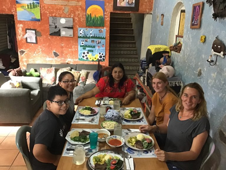Great food and new friends at Antigua, Guatemala