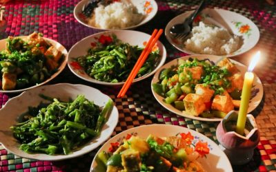 Eating Cambodian food with locals